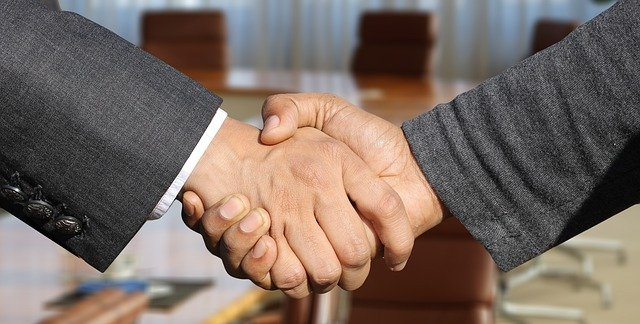 A picture of a handshake.